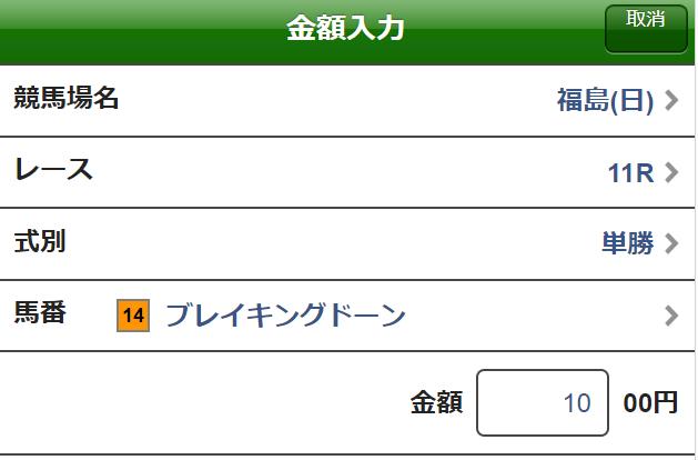 ラジオNIKKEI賞2019単勝馬券2